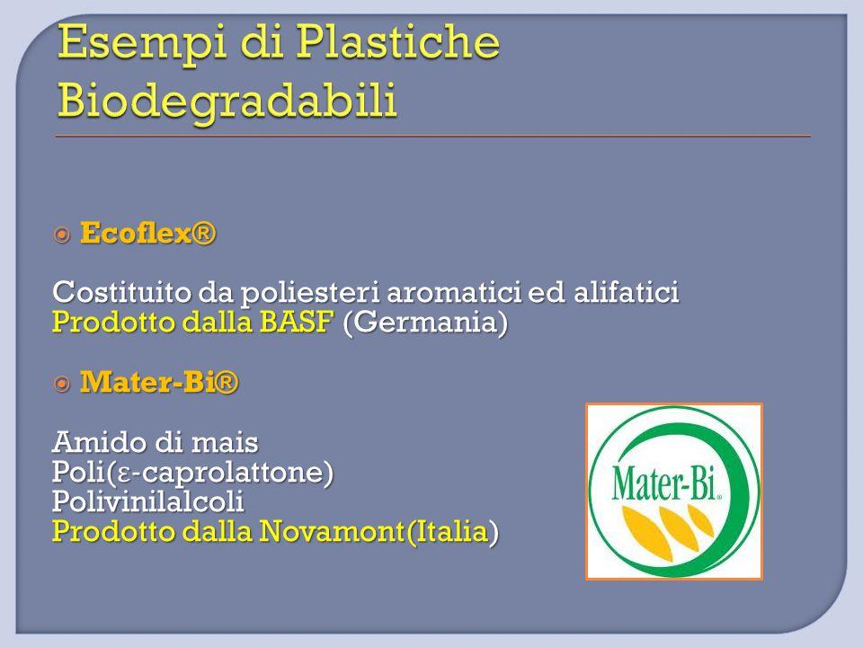  Ecoflex® Costituito da poliesteri aromatici ed alifatici Prodotto dalla BASF (Germania)  Mater-Bi® Amido di mais Poli( ε -caprolattone) Polivinilal