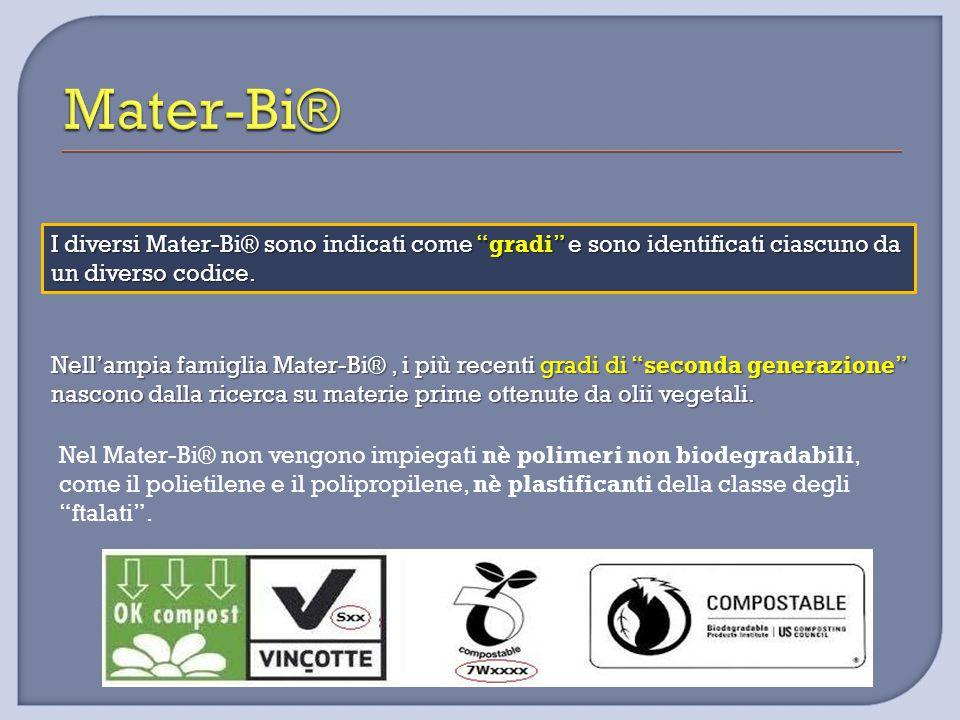 """I diversi Mater-Bi® sono indicati come """"gradi"""" e sono identificati ciascuno da un diverso codice. Nell'ampia famiglia Mater-Bi®, i più recenti gradi d"""