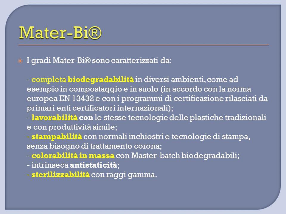  I gradi Mater-Bi® sono caratterizzati da: - completa biodegradabilità in diversi ambienti, come ad esempio in compostaggio e in suolo (in accordo co