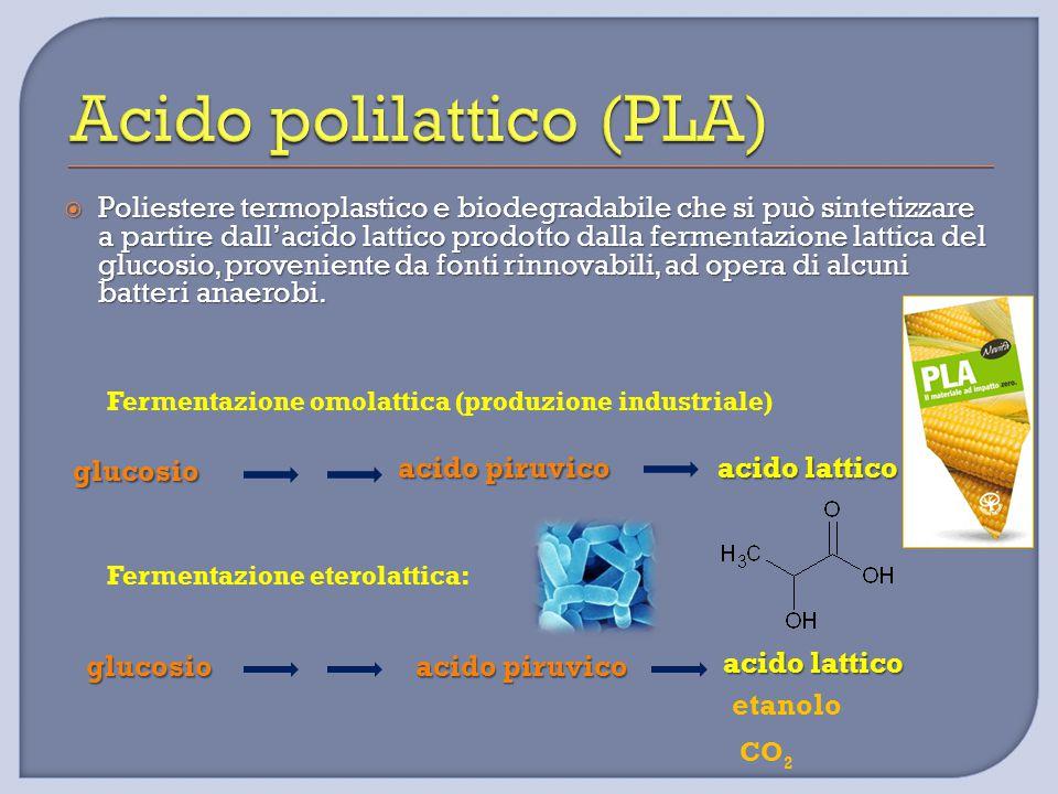  Poliestere termoplastico e biodegradabile che si può sintetizzare a partire dall'acido lattico prodotto dalla fermentazione lattica del glucosio, pr