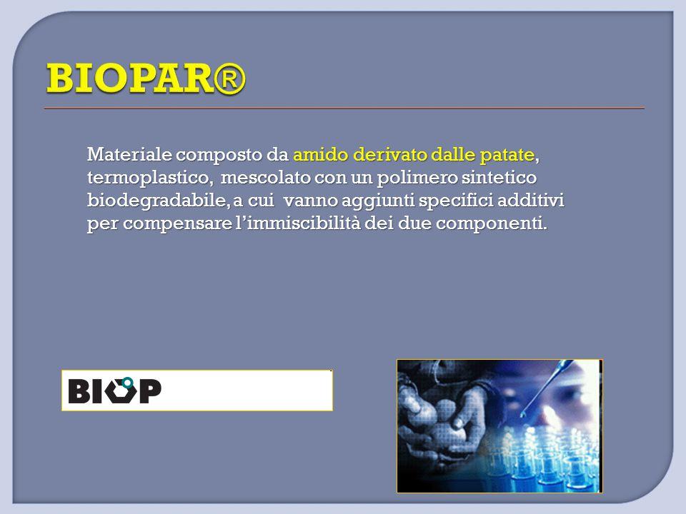 Materiale composto da amido derivato dalle patate, termoplastico, mescolato con un polimero sintetico biodegradabile, a cui vanno aggiunti specifici a