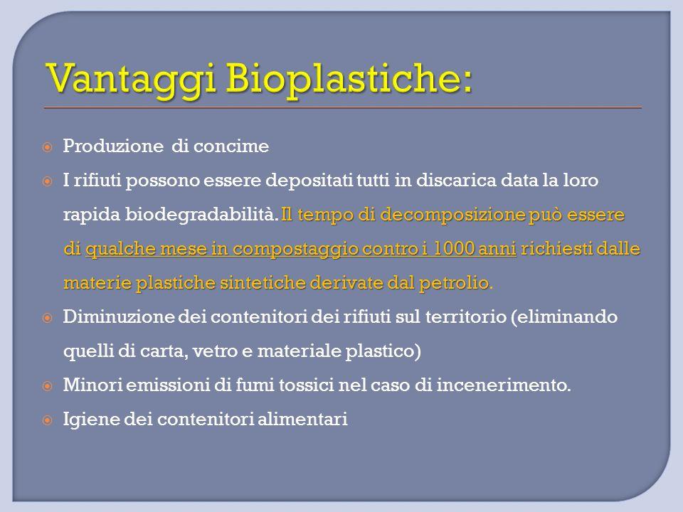  Produzione di concime Il tempo di decomposizione può essere di qualche mese in compostaggio contro i 1000 anni richiesti dalle materie plastiche sin