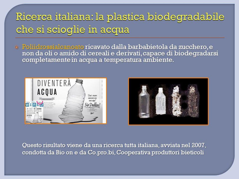  Poliidrossialcanoato ricavato dalla barbabietola da zucchero, e non da oli o amido di cereali e derivati, capace di biodegradarsi completamente in a