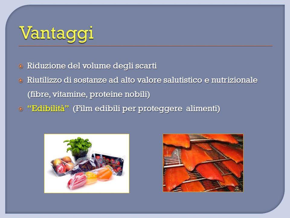 """ Riduzione del volume degli scarti  Riutilizzo di sostanze ad alto valore salutistico e nutrizionale (fibre, vitamine, proteine nobili)  """"Edibilità"""