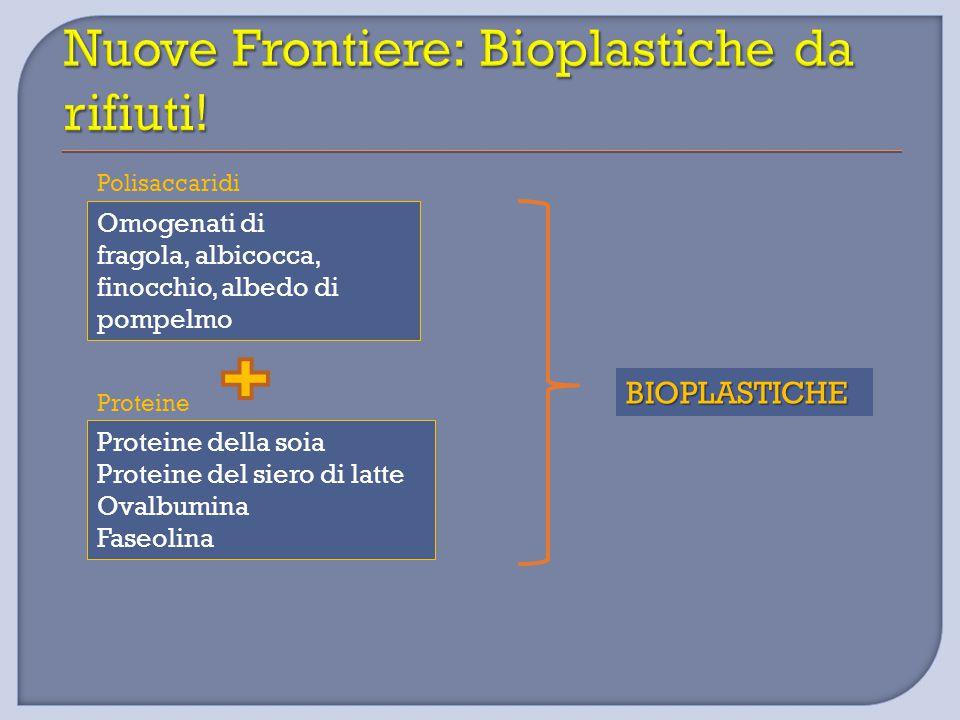 Omogenati di fragola, albicocca, finocchio, albedo di pompelmo Proteine della soia Proteine del siero di latte Ovalbumina Faseolina BIOPLASTICHE Polis