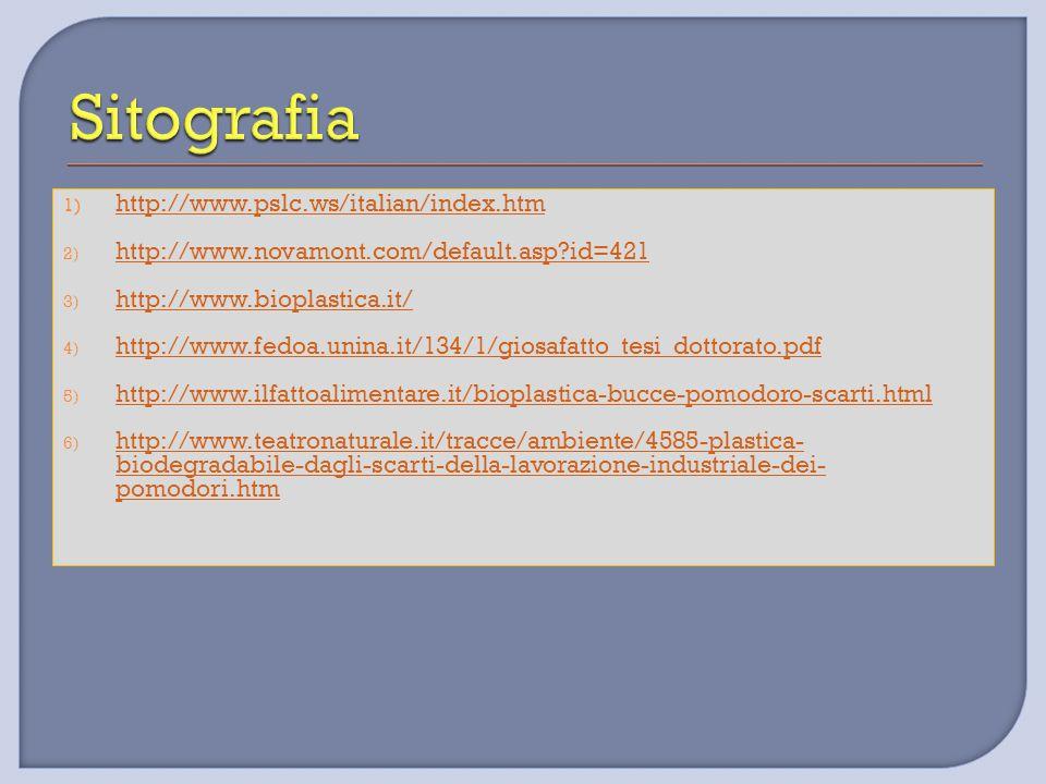 1) http://www.pslc.ws/italian/index.htm http://www.pslc.ws/italian/index.htm 2) http://www.novamont.com/default.asp?id=421 http://www.novamont.com/def