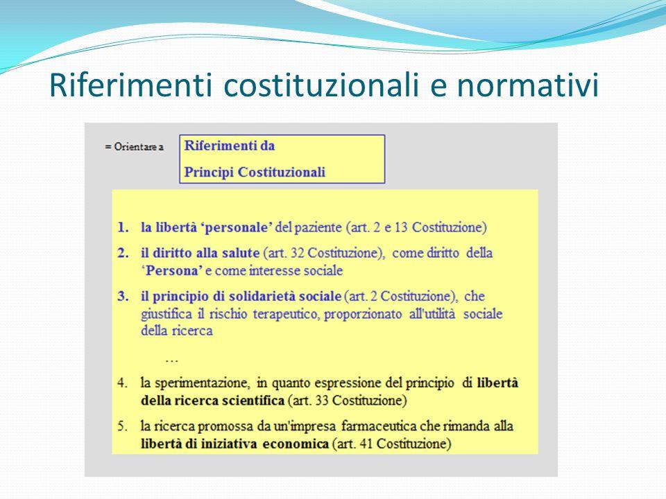 Riferimenti costituzionali e normativi