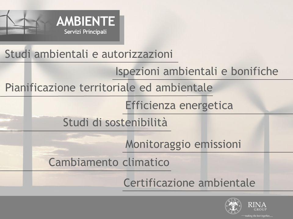 Ispezioni ambientali e bonifiche Efficienza energetica Studi di sostenibilità Pianificazione territoriale ed ambientale Studi ambientali e autorizzazioni Servizi Principali AMBIENTE Monitoraggio emissioni Cambiamento climatico Certificazione ambientale