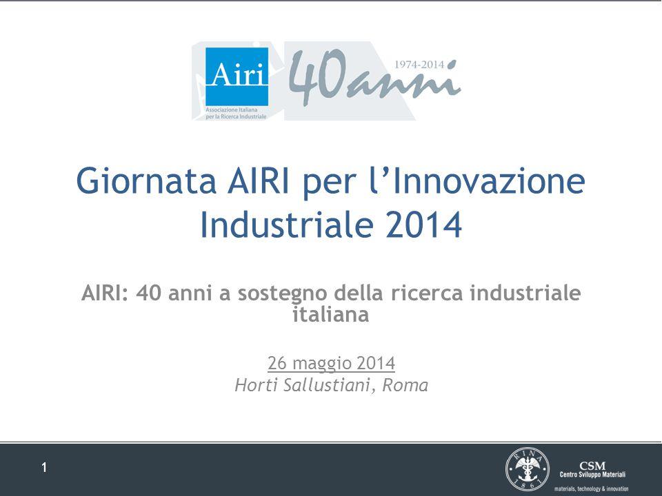 1 Giornata AIRI per l'Innovazione Industriale 2014 AIRI: 40 anni a sostegno della ricerca industriale italiana 26 maggio 2014 Horti Sallustiani, Roma