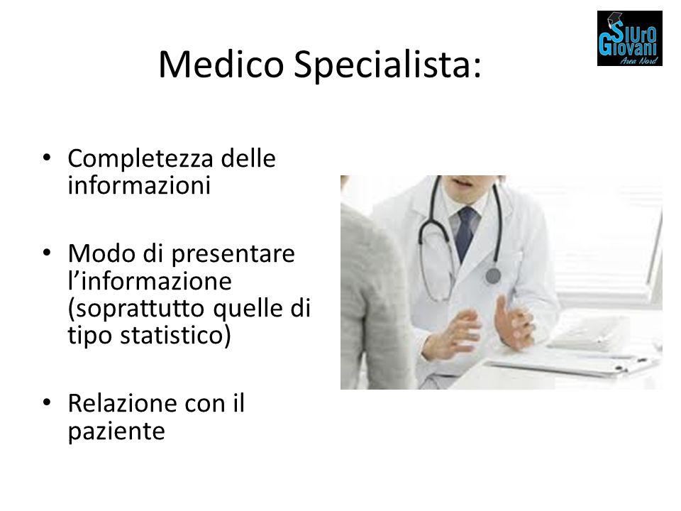 Medico Specialista: Completezza delle informazioni Modo di presentare l'informazione (soprattutto quelle di tipo statistico) Relazione con il paziente
