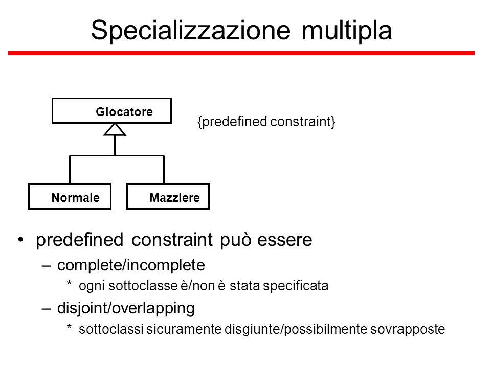 Specializzazione multipla predefined constraint può essere –complete/incomplete *ogni sottoclasse è/non è stata specificata –disjoint/overlapping *sot