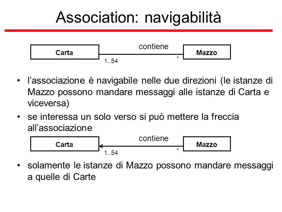 Association: navigabilità CartaMazzo contiene * 1..54 l'associazione è navigabile nelle due direzioni (le istanze di Mazzo possono mandare messaggi al