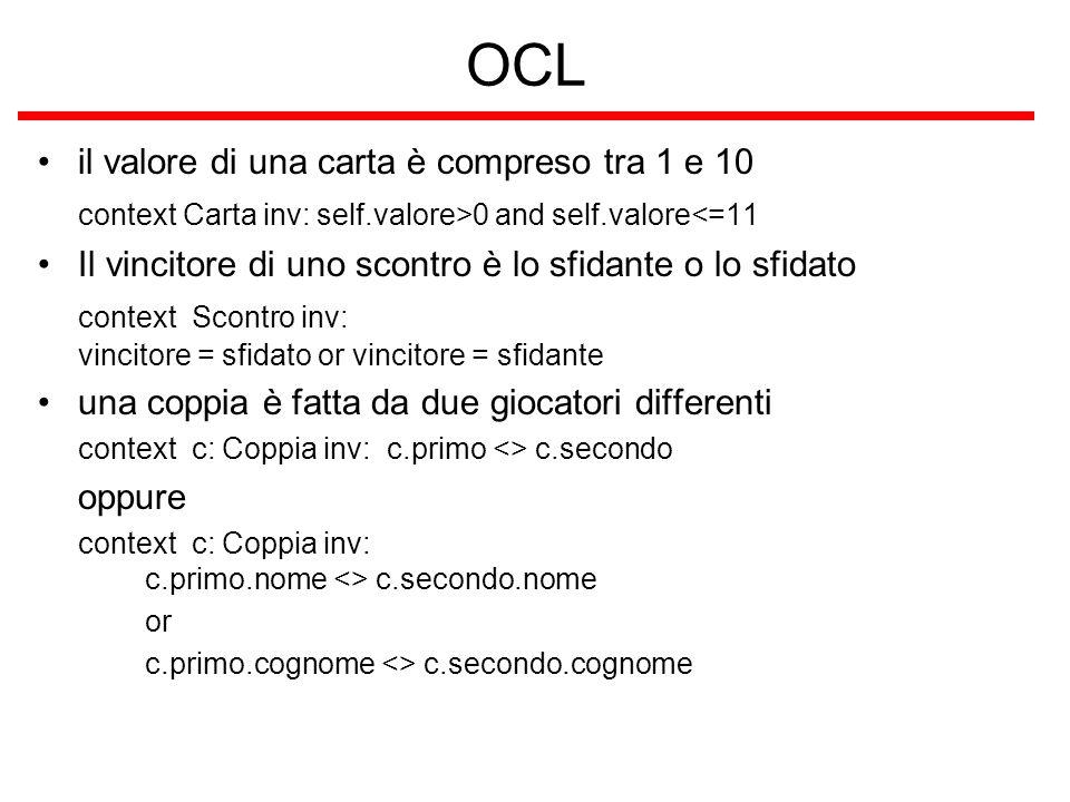OCL il valore di una carta è compreso tra 1 e 10 context Carta inv: self.valore>0 and self.valore<=11 Il vincitore di uno scontro è lo sfidante o lo s