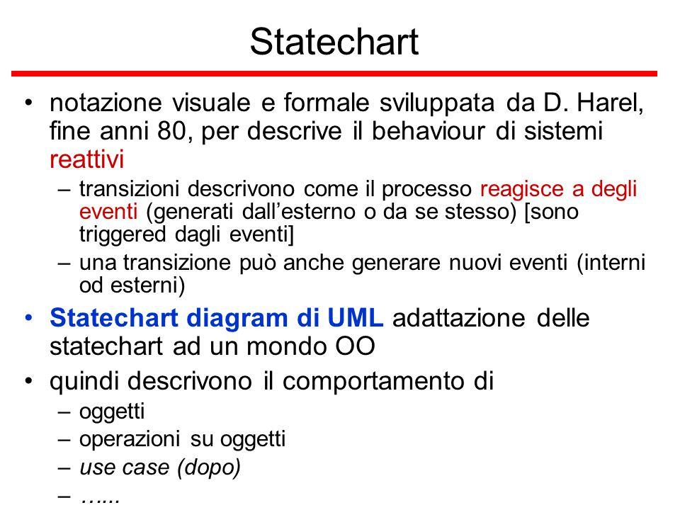 Statechart notazione visuale e formale sviluppata da D. Harel, fine anni 80, per descrive il behaviour di sistemi reattivi –transizioni descrivono com