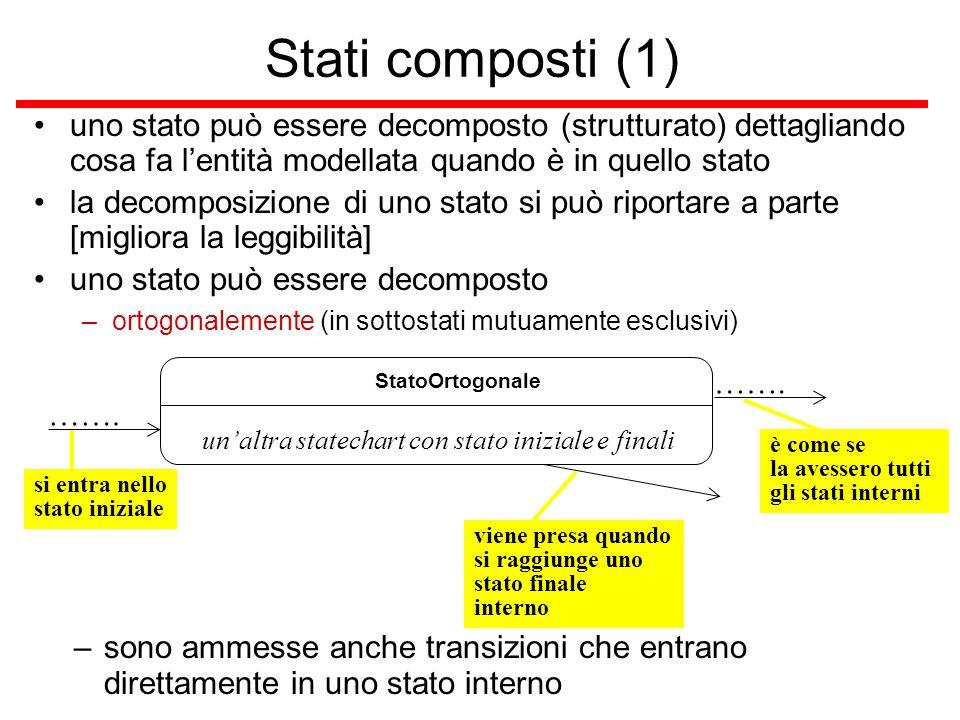 si entra nello stato iniziale Stati composti (1) uno stato può essere decomposto (strutturato) dettagliando cosa fa l'entità modellata quando è in que