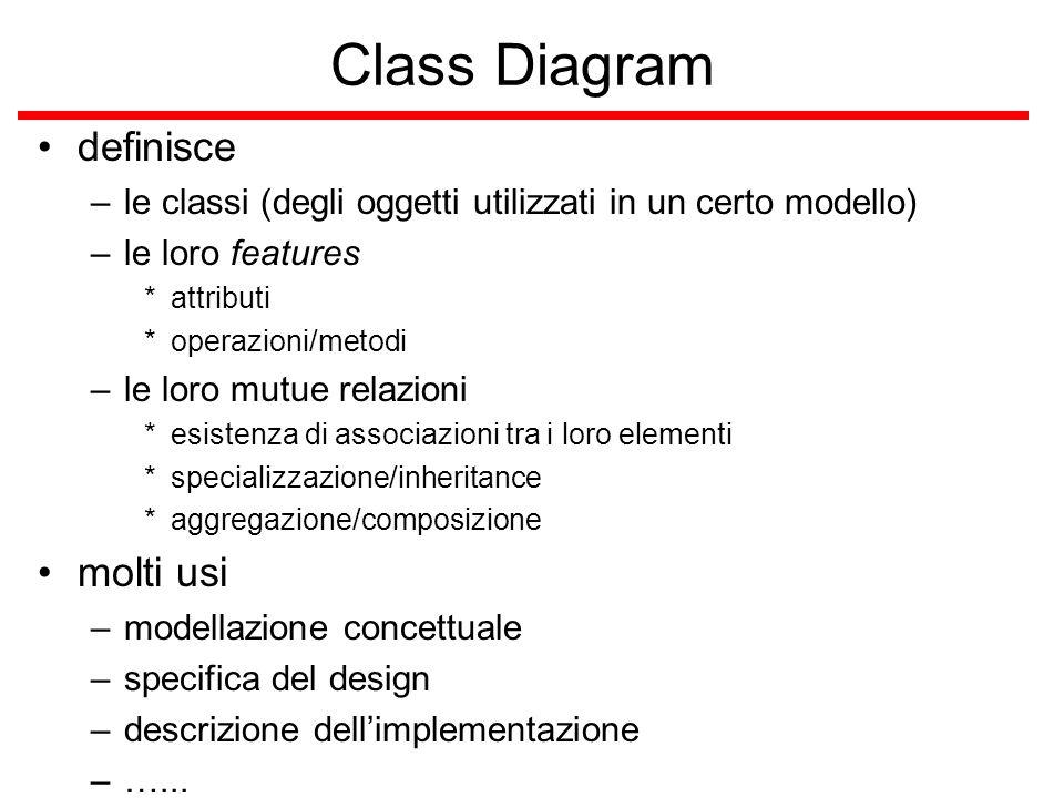 Class Diagram definisce –le classi (degli oggetti utilizzati in un certo modello) –le loro features *attributi *operazioni/metodi –le loro mutue relaz