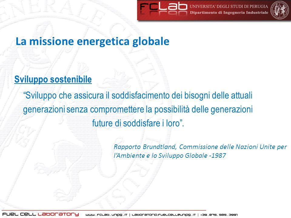 """Sviluppo sostenibile """"Sviluppo che assicura il soddisfacimento dei bisogni delle attuali generazioni senza compromettere la possibilità delle generazi"""