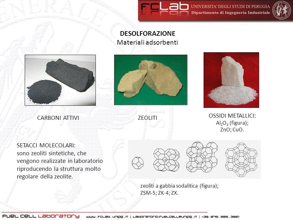 DESOLFORAZIONE Materiali adsorbenti CARBONI ATTIVIZEOLITI OSSIDI METALLICI: Al 2 O 3 (figura); ZnO; CuO. SETACCI MOLECOLARI: sono zeoliti sintetiche,