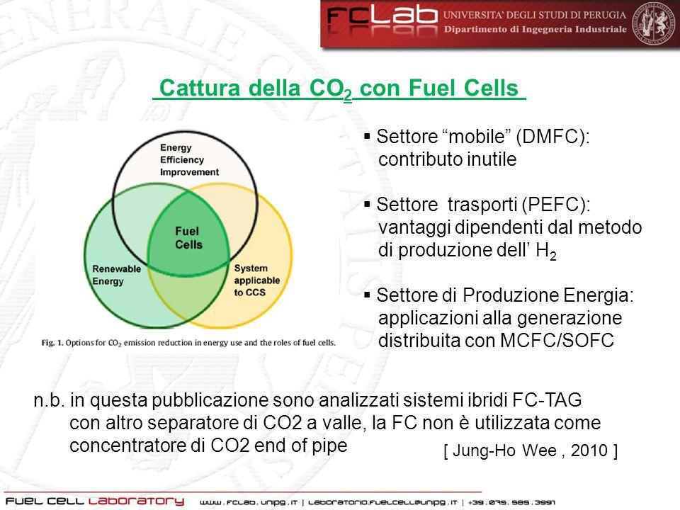 """Cattura della CO 2 con Fuel Cells  Settore """"mobile"""" (DMFC): contributo inutile  Settore trasporti (PEFC): vantaggi dipendenti dal metodo di produzio"""