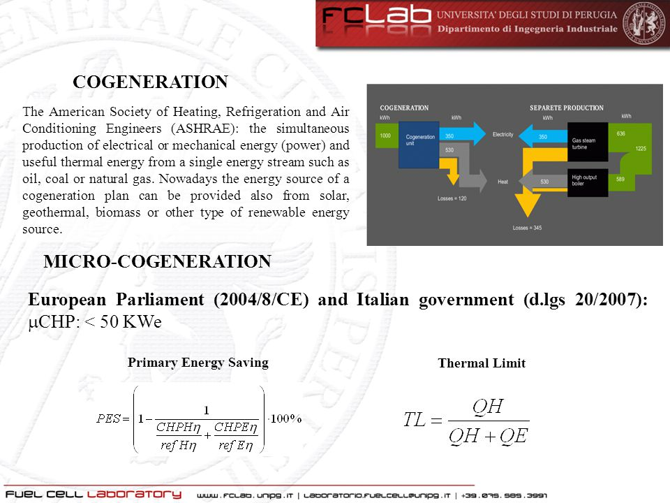 European Parliament (2004/8/CE) and Italian government (d.lgs 20/2007):  CHP: < 50 KWe The American Society of Heating, Refrigeration and Air Conditi