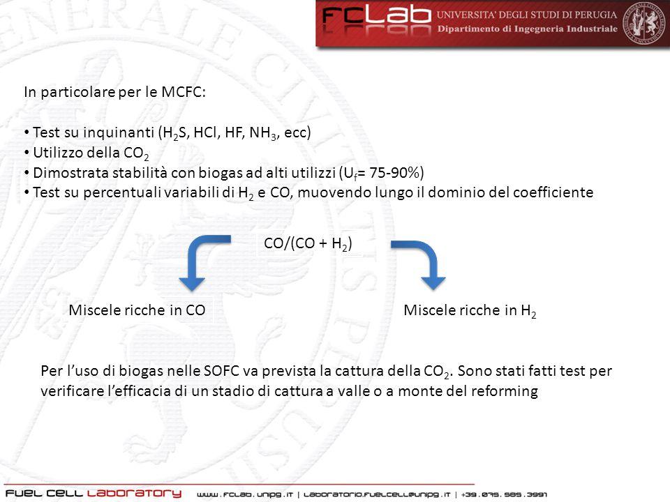 In particolare per le MCFC: Test su inquinanti (H 2 S, HCl, HF, NH 3, ecc) Utilizzo della CO 2 Dimostrata stabilità con biogas ad alti utilizzi (U f =
