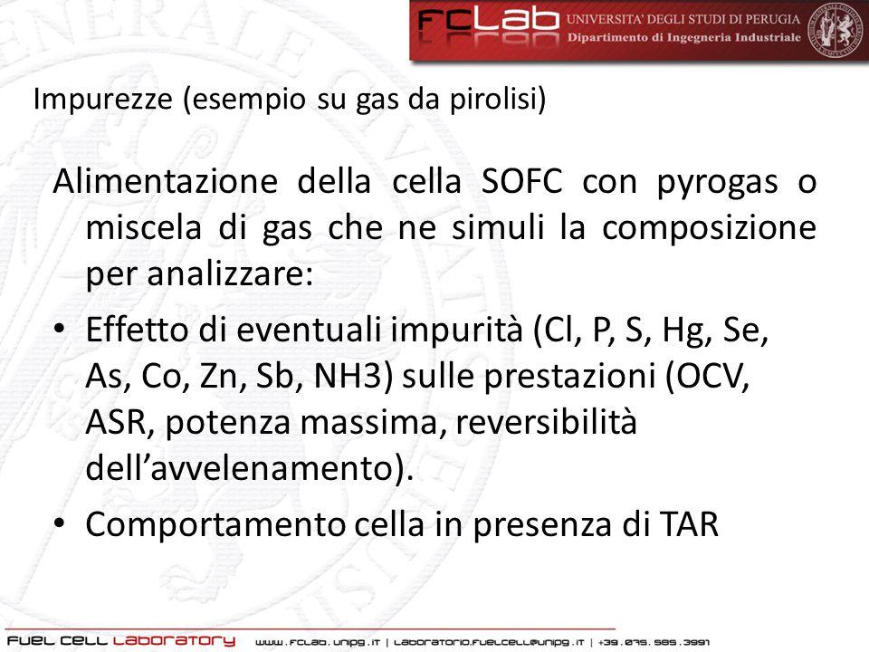 Alimentazione della cella SOFC con pyrogas o miscela di gas che ne simuli la composizione per analizzare: Effetto di eventuali impurità (Cl, P, S, Hg,
