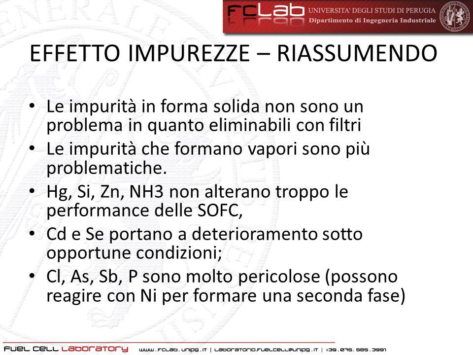 EFFETTO IMPUREZZE – RIASSUMENDO Le impurità in forma solida non sono un problema in quanto eliminabili con filtri Le impurità che formano vapori sono