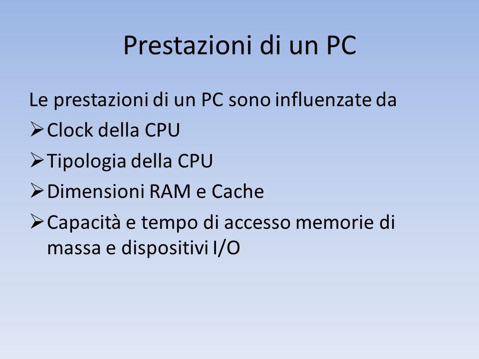 Prestazioni di un PC Le prestazioni di un PC sono influenzate da  Clock della CPU  Tipologia della CPU  Dimensioni RAM e Cache  Capacità e tempo di accesso memorie di massa e dispositivi I/O