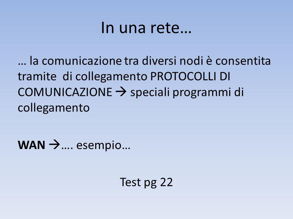 In una rete… … la comunicazione tra diversi nodi è consentita tramite di collegamento PROTOCOLLI DI COMUNICAZIONE  speciali programmi di collegamento WAN  ….