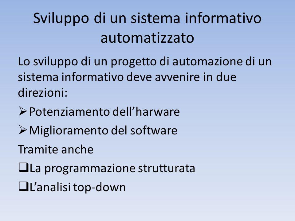 Sviluppo di un sistema informativo automatizzato Lo sviluppo di un progetto di automazione di un sistema informativo deve avvenire in due direzioni:  Potenziamento dell'harware  Miglioramento del software Tramite anche  La programmazione strutturata  L'analisi top-down