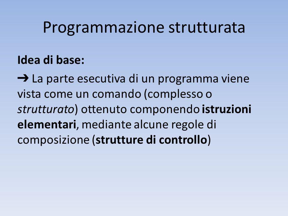 Programmazione strutturata Idea di base: ➔ La parte esecutiva di un programma viene vista come un comando (complesso o strutturato) ottenuto componendo istruzioni elementari, mediante alcune regole di composizione (strutture di controllo)