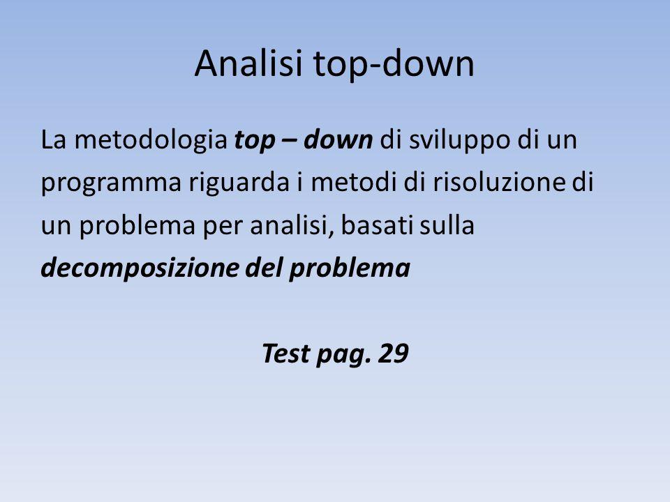 Analisi top-down La metodologia top – down di sviluppo di un programma riguarda i metodi di risoluzione di un problema per analisi, basati sulla decomposizione del problema Test pag.