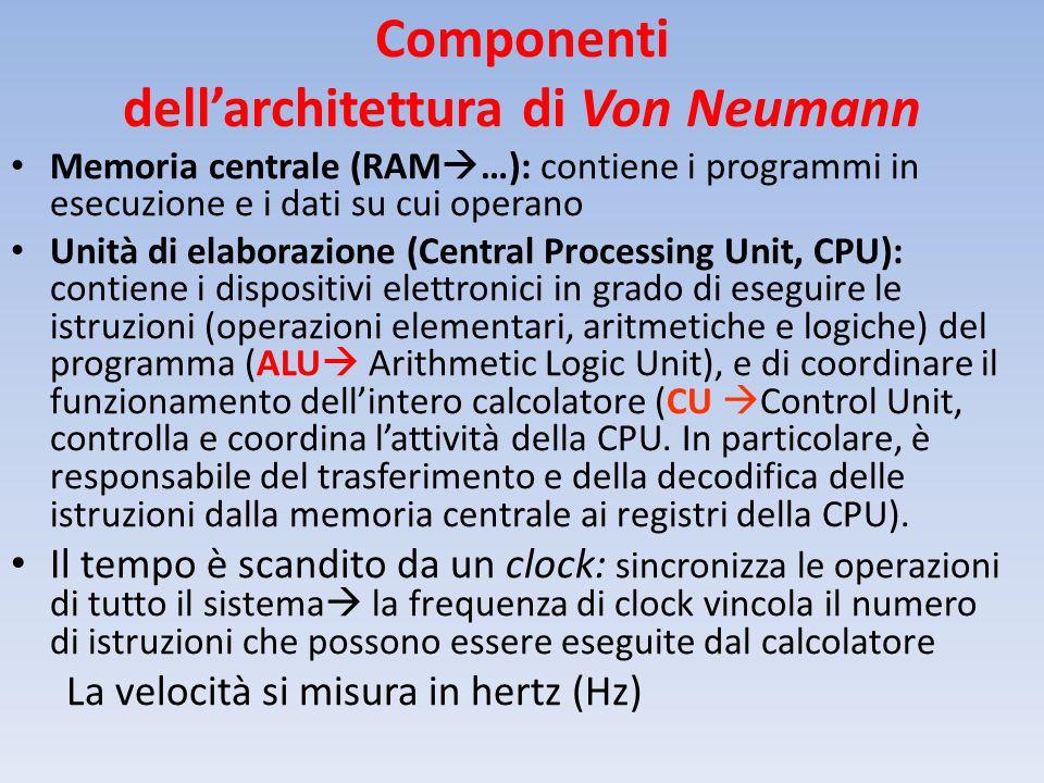 Componenti dell'architettura di Von Neumann Memoria centrale (RAM  …): contiene i programmi in esecuzione e i dati su cui operano Unità di elaborazione (Central Processing Unit, CPU): contiene i dispositivi elettronici in grado di eseguire le istruzioni (operazioni elementari, aritmetiche e logiche) del programma (ALU  Arithmetic Logic Unit), e di coordinare il funzionamento dell'intero calcolatore (CU  Control Unit, controlla e coordina l'attività della CPU.