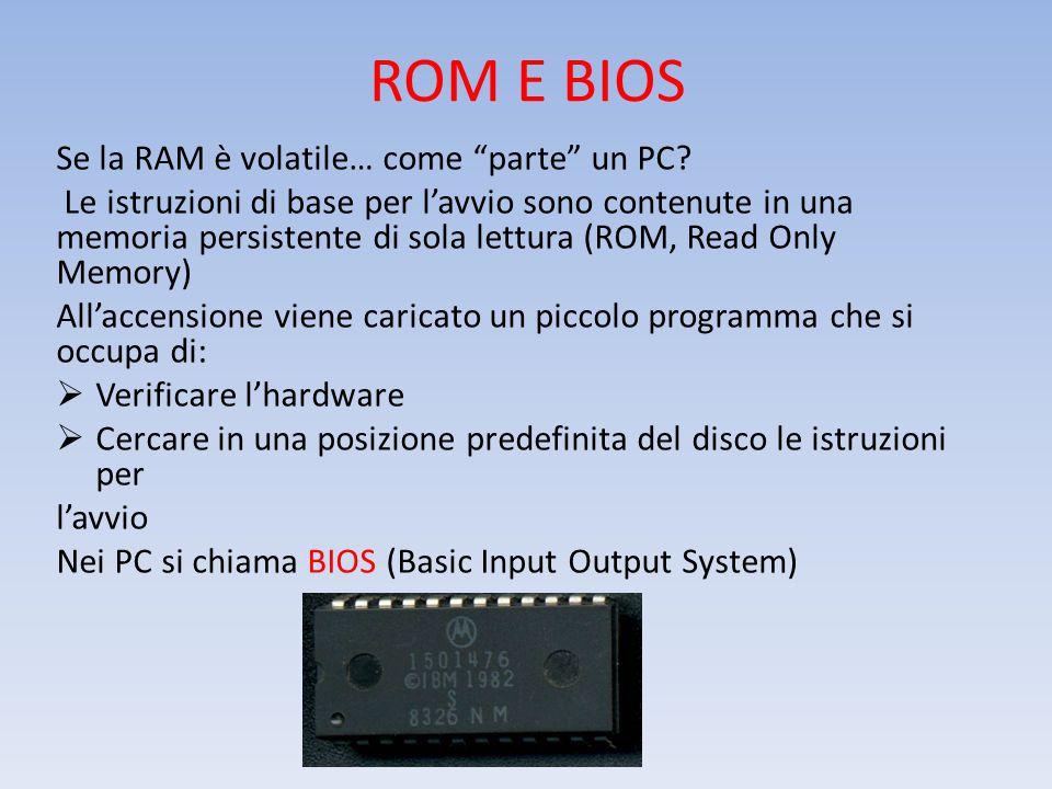 ROM E BIOS Se la RAM è volatile… come parte un PC.