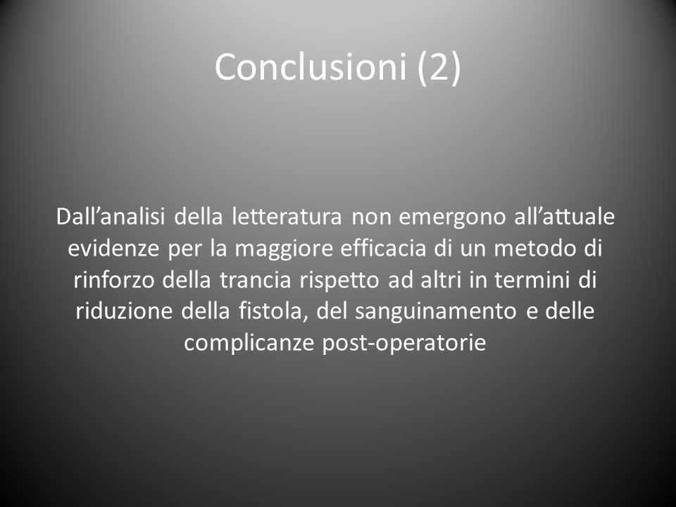 Conclusioni (2) Dall'analisi della letteratura non emergono all'attuale evidenze per la maggiore efficacia di un metodo di rinforzo della trancia risp