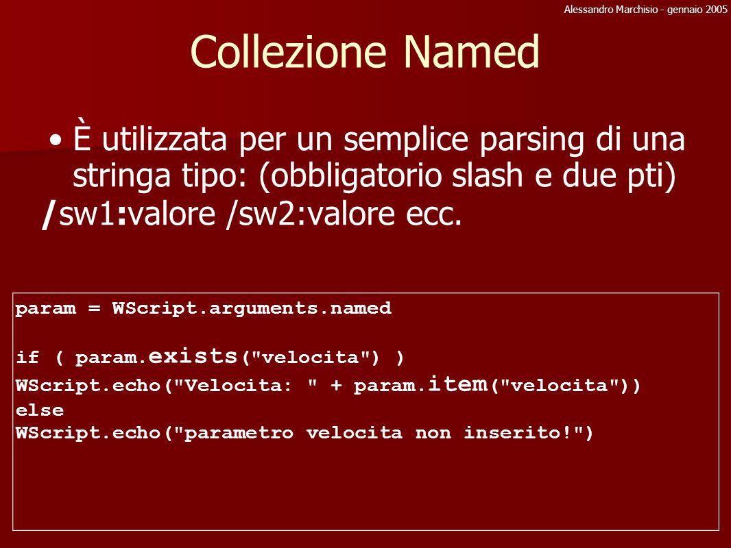 Alessandro Marchisio - gennaio 2005 Collezione Named È utilizzata per un semplice parsing di una stringa tipo: (obbligatorio slash e due pti) /sw1:val