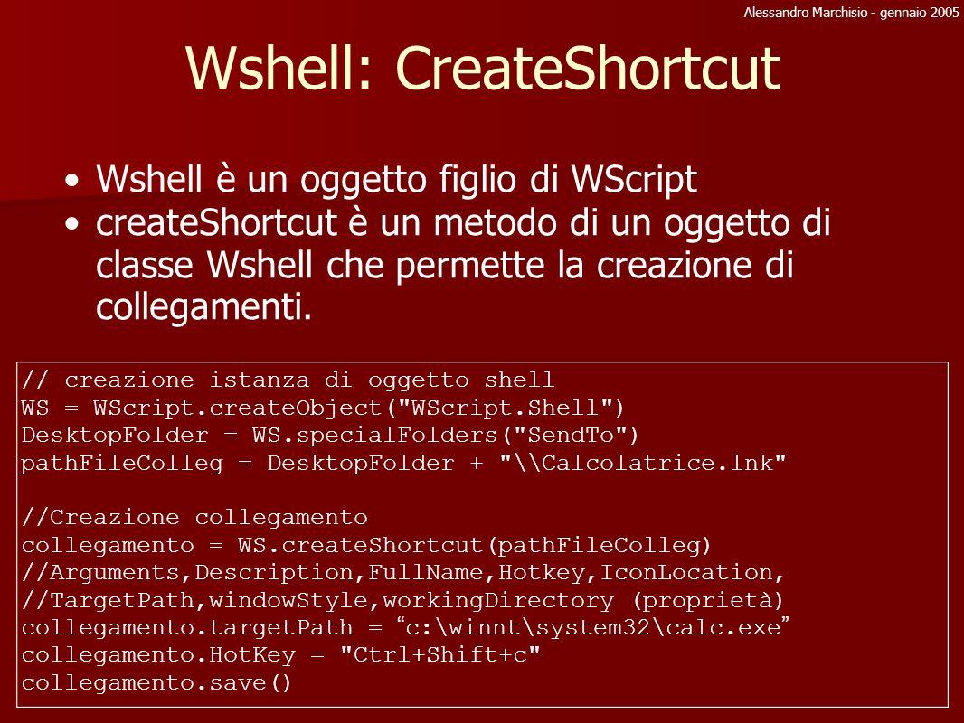 Alessandro Marchisio - gennaio 2005 Wshell: CreateShortcut Wshell è un oggetto figlio di WScript createShortcut è un metodo di un oggetto di classe Ws