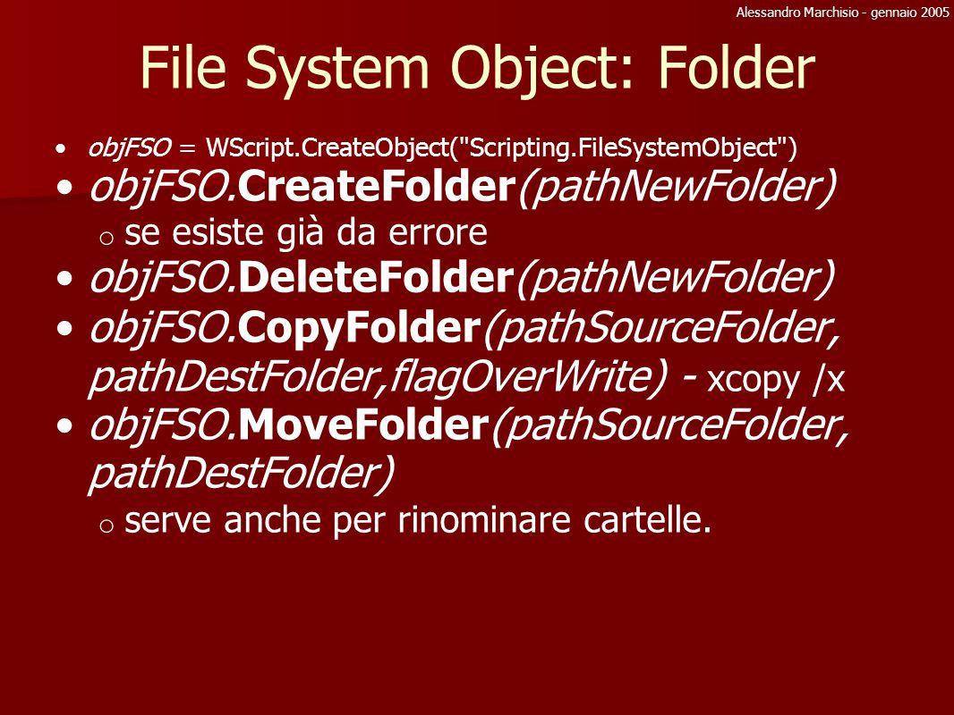 Alessandro Marchisio - gennaio 2005 File System Object: Folder objFSO = WScript.CreateObject(