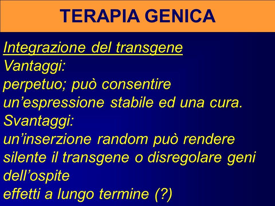 TERAPIA GENICA Transgene episomale Vantaggi: assenza di mutagenesi inserzionale o effetti a lungo termine.