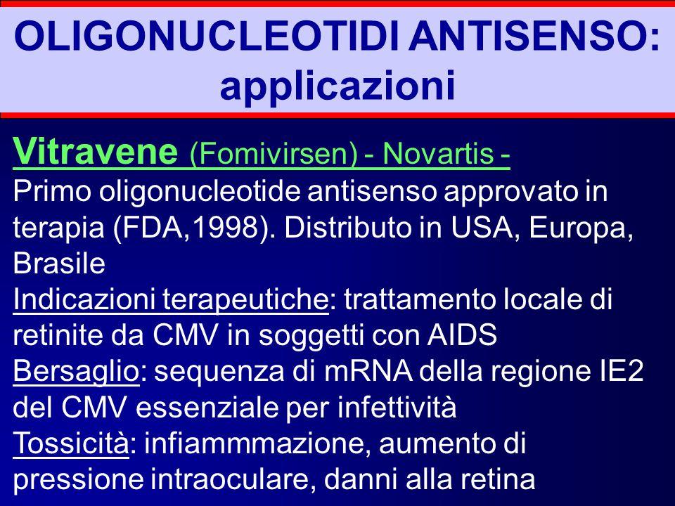 OLIGONUCLEOTIDI ANTISENSO: applicazioni Vitravene (Fomivirsen) - Novartis - Primo oligonucleotide antisenso approvato in terapia (FDA,1998). Distribut