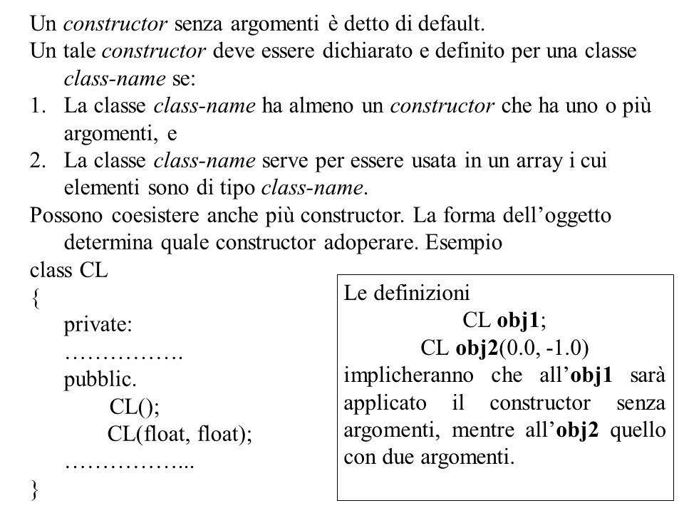 15 Un constructor senza argomenti è detto di default. Un tale constructor deve essere dichiarato e definito per una classe class-name se: 1.La classe