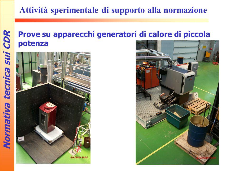 Normativa tecnica sui CDR Attività sperimentale di supporto alla normazione Prove su apparecchi generatori di calore di piccola potenza
