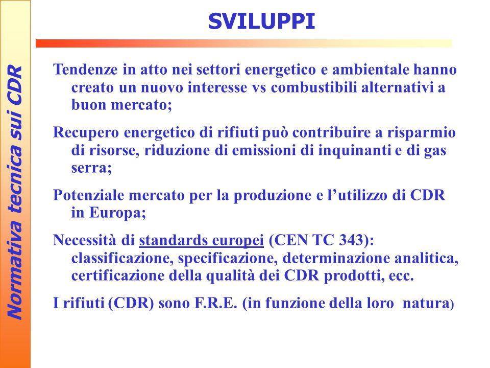 SVILUPPI Normativa tecnica sui CDR Tendenze in atto nei settori energetico e ambientale hanno creato un nuovo interesse vs combustibili alternativi a buon mercato; Recupero energetico di rifiuti può contribuire a risparmio di risorse, riduzione di emissioni di inquinanti e di gas serra; Potenziale mercato per la produzione e l'utilizzo di CDR in Europa; Necessità di standards europei (CEN TC 343): classificazione, specificazione, determinazione analitica, certificazione della qualità dei CDR prodotti, ecc.
