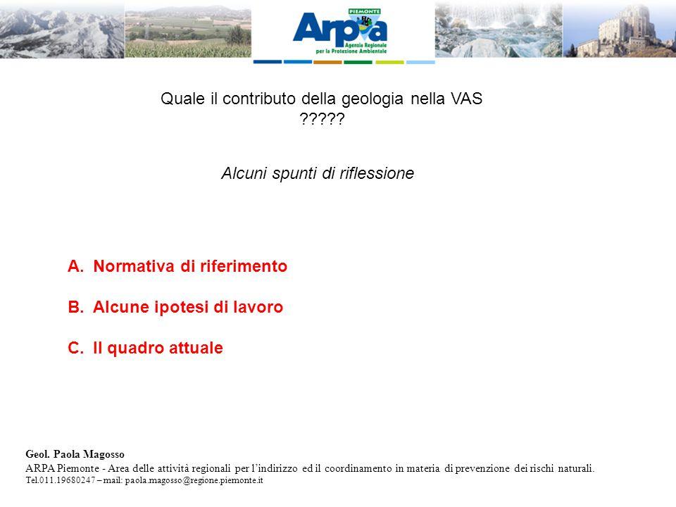 Quale il contributo della geologia nella VAS .