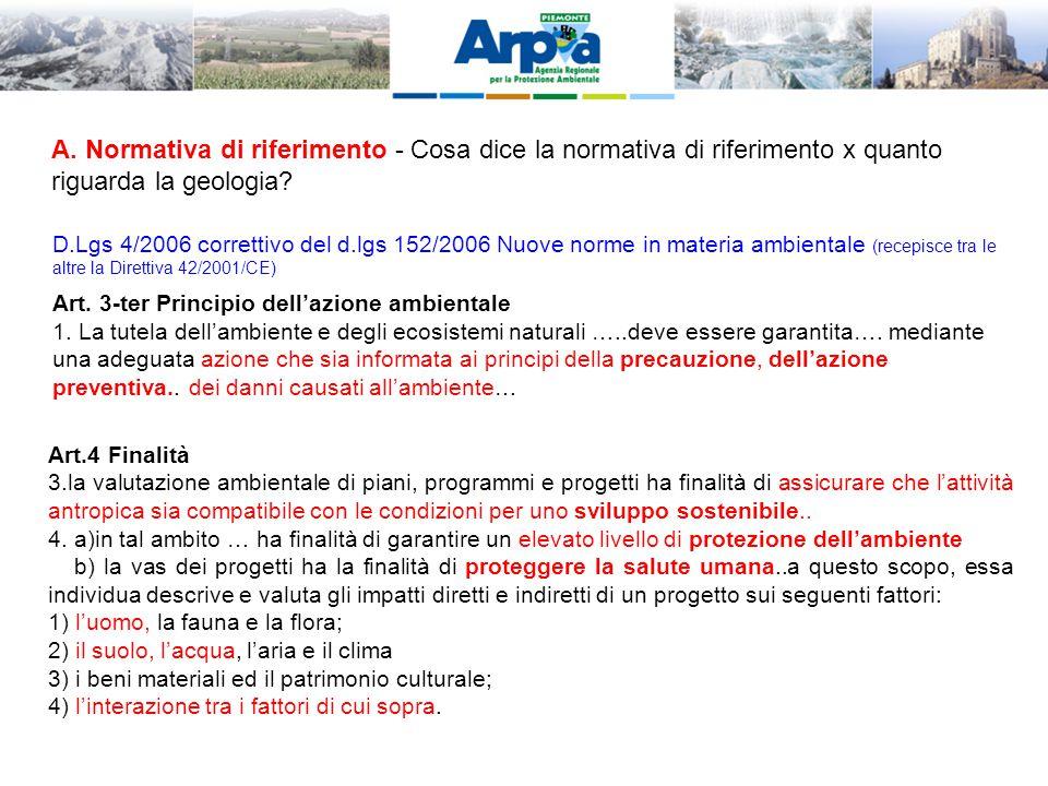 D.Lgs 4/2006 correttivo del d.lgs 152/2006 Nuove norme in materia ambientale (recepisce tra le altre la Direttiva 42/2001/CE) Art.