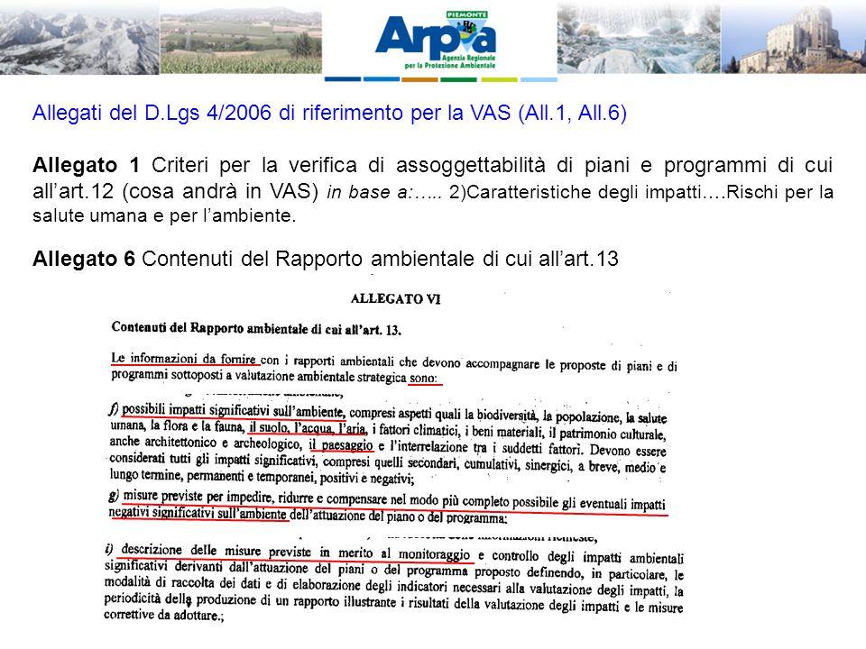 Allegati del D.Lgs 4/2006 di riferimento per la VAS (All.1, All.6) Allegato 1 Criteri per la verifica di assoggettabilità di piani e programmi di cui all'art.12 (cosa andrà in VAS) in base a:…..