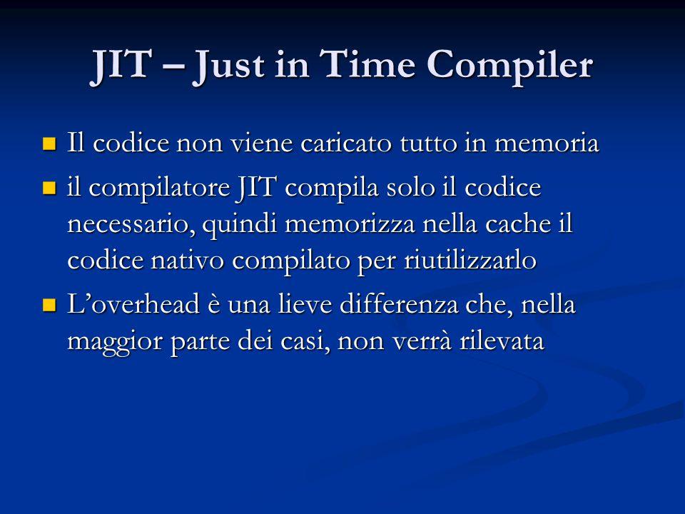 JIT – Just in Time Compiler Il codice non viene caricato tutto in memoria Il codice non viene caricato tutto in memoria il compilatore JIT compila solo il codice necessario, quindi memorizza nella cache il codice nativo compilato per riutilizzarlo il compilatore JIT compila solo il codice necessario, quindi memorizza nella cache il codice nativo compilato per riutilizzarlo L'overhead è una lieve differenza che, nella maggior parte dei casi, non verrà rilevata L'overhead è una lieve differenza che, nella maggior parte dei casi, non verrà rilevata