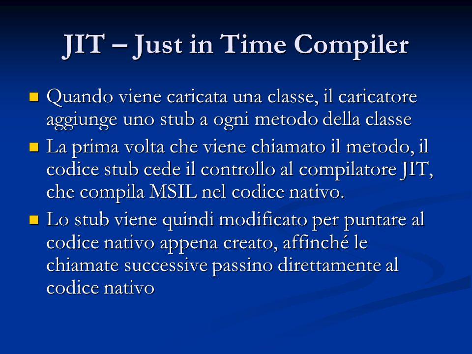 JIT – Just in Time Compiler Quando viene caricata una classe, il caricatore aggiunge uno stub a ogni metodo della classe Quando viene caricata una classe, il caricatore aggiunge uno stub a ogni metodo della classe La prima volta che viene chiamato il metodo, il codice stub cede il controllo al compilatore JIT, che compila MSIL nel codice nativo.