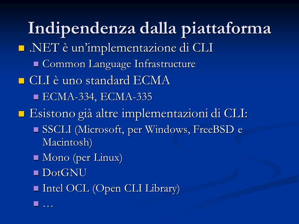 Indipendenza dalla piattaforma.NET è un'implementazione di CLI.NET è un'implementazione di CLI Common Language Infrastructure Common Language Infrastructure CLI è uno standard ECMA CLI è uno standard ECMA ECMA-334, ECMA-335 ECMA-334, ECMA-335 Esistono già altre implementazioni di CLI: Esistono già altre implementazioni di CLI: SSCLI (Microsoft, per Windows, FreeBSD e Macintosh) SSCLI (Microsoft, per Windows, FreeBSD e Macintosh) Mono (per Linux) Mono (per Linux) DotGNU DotGNU Intel OCL (Open CLI Library) Intel OCL (Open CLI Library) …