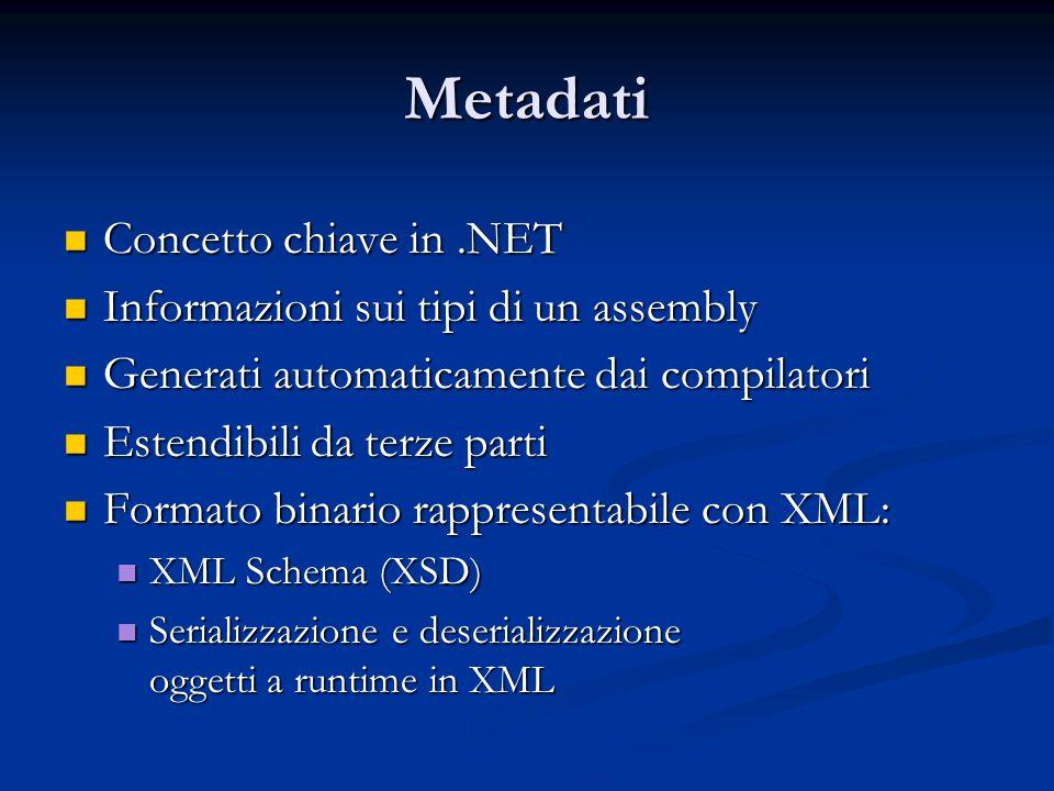 Metadati Concetto chiave in.NET Concetto chiave in.NET Informazioni sui tipi di un assembly Informazioni sui tipi di un assembly Generati automaticamente dai compilatori Generati automaticamente dai compilatori Estendibili da terze parti Estendibili da terze parti Formato binario rappresentabile con XML: Formato binario rappresentabile con XML: XML Schema (XSD) XML Schema (XSD) Serializzazione e deserializzazione oggetti a runtime in XML Serializzazione e deserializzazione oggetti a runtime in XML